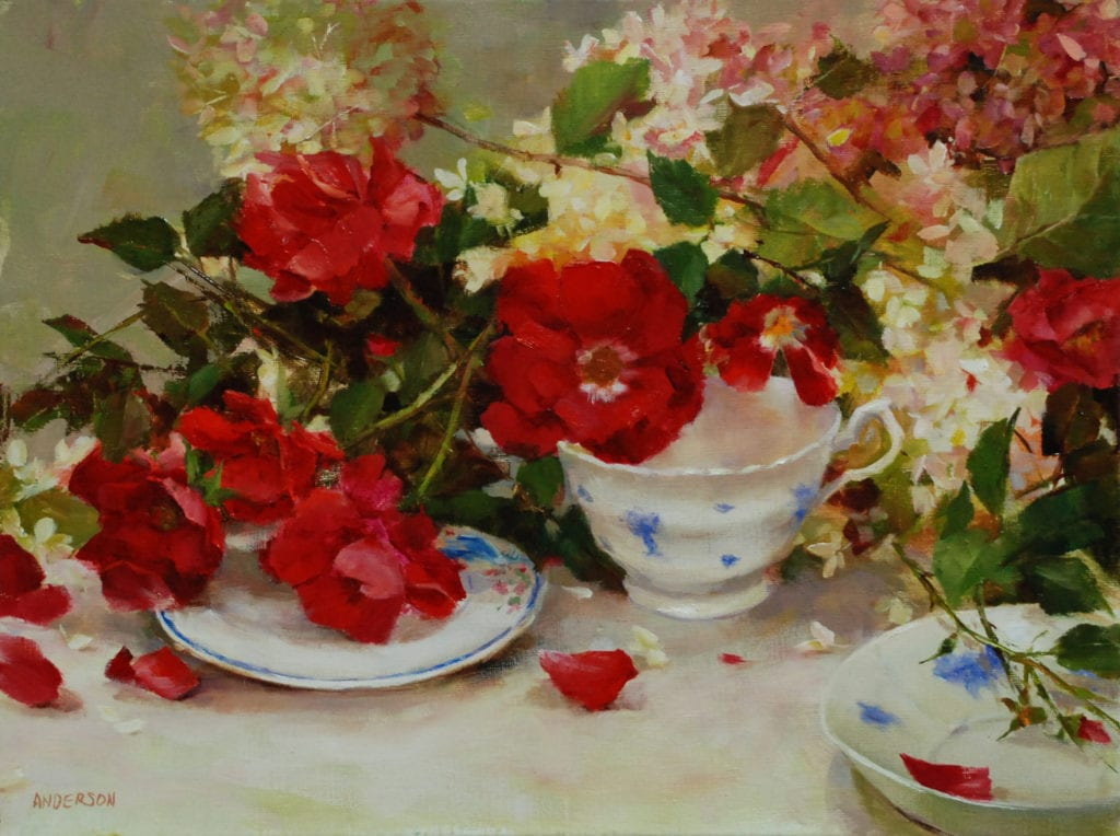 """Red Roses And Wedgewood"" by Kathy Anderson OPA"