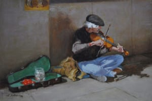 "Street Fiddler (16""x24"") by Hodges Soileau OPA"