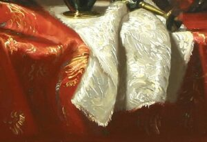"""Secret Life of Iris"" by Margret Short OPA (detail-cinnabar, madder, white)"