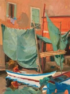 """WORKING ON THE NETS"" by Jane Barton, 12x9, Oil on board, 2011"