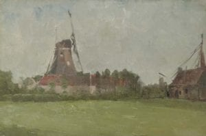 "John Henry Twachtman – ""Windmill in the Dutch Countryside"" (Spanierman Gallery)"