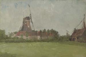 """John Henry Twachtman – """"Windmill in the Dutch Countryside"""" (Spanierman Gallery)"""