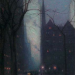 "Birge Harrison – ""Fifth Avenue at Twilight"" (Spanierman Gallery)"
