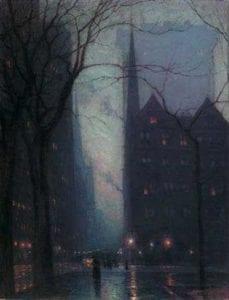 "Birge Harrison – ""Fifth Avenue at Twilight"" (Spanierman Gallery)"