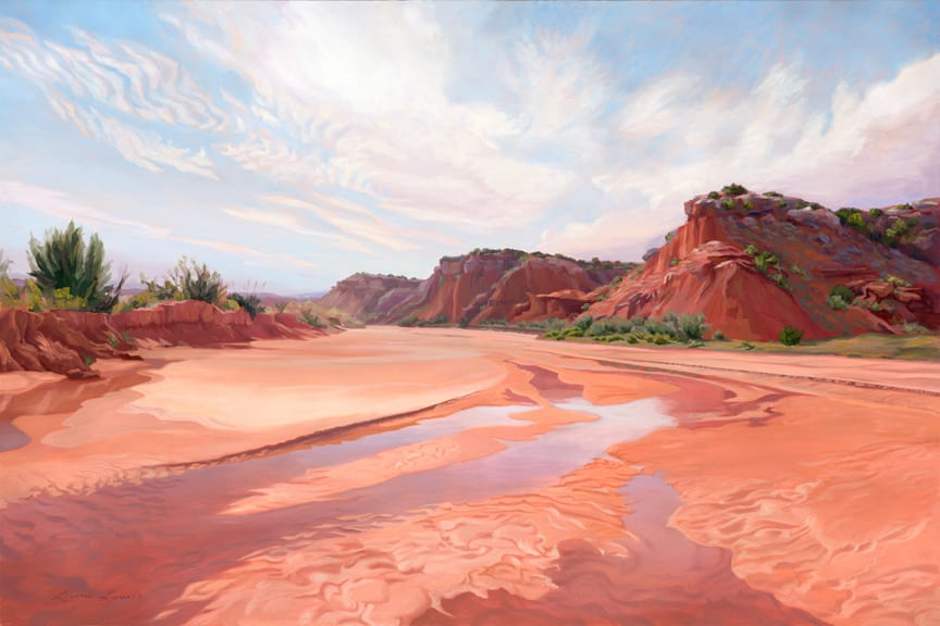 Miller's Bend, oil on canvas, 60 by 90inches, © 2009 Laura Lewis