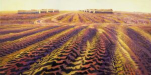 Tractor Tracks, oil on panel, 18 by 36 inches,  © 2011 Laura Lewis