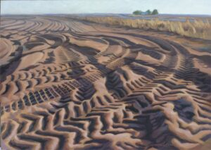 Turnrow,  oil on panel, 32 by 45 inches,  © 2012 Laura Lewis