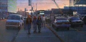 """""""City Sidewalk"""" -18x36 - Diane Massey Dunbar OPA"""