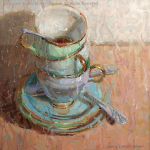 """Cups And Saucers"" by Diane Massey Dunbar OPA - 10x10"