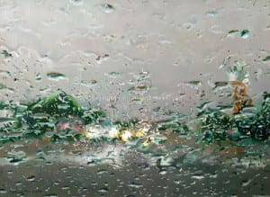 """Driving Through A Downpour"" by Diane Massey Dunbar OPA - 12x16"