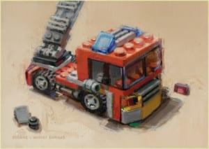 """""""Fire Engine"""" by Diane Massey Dunbar OPA - 5x7"""
