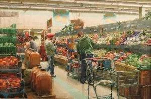 """Shopping Cart"" by Diane Massey Dunbar OPA - 20x30"