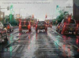 Driving in the Rain – 18″x 24″ – Oil