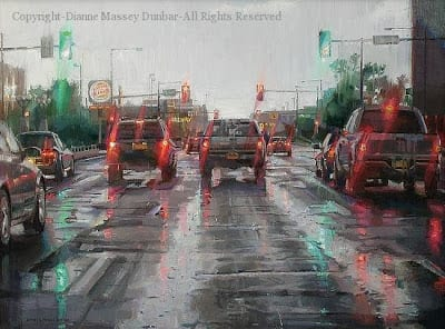Driving in the Rain – 18″x 24″ – Oil