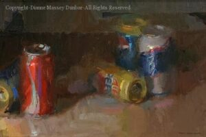 Five Pop Cans – 12″x 18″ – Oil