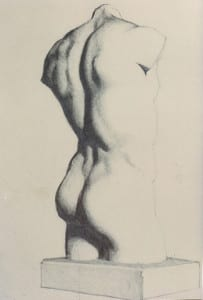 Classic Nude Drawing, Pencil, 9 3⁄4 x 6, $600