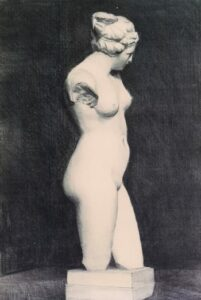 Female Nude (Classic Pose), Charcoal, 25 x 16, SOLD