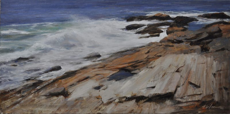SoileauOPA-Hodges-Crashing Waves on Sweeping Rocks-12x24 oil on linen-exhibited 2012 Eastern Regional OPA exhibition