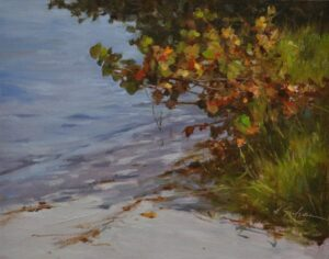 SoileauOPA-Hodges-North Jetty Sea Grapes-(field sketch) 11x14 oil on linen panel