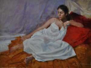 SoileauOPA-Hodges-Red pillows!-9x12 oil on linen panel