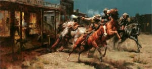 """Bad Whiskey - 24""""x 48"""" - Oil At the Coeur d' Alene art auction in 2009, this painting set an auction record for Thomas's work, selling for $110,000"""