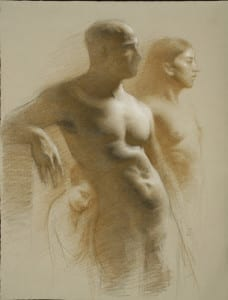Juliette Aristides – Family - 24″x 18″ – Charcoal and sepia on toned paper