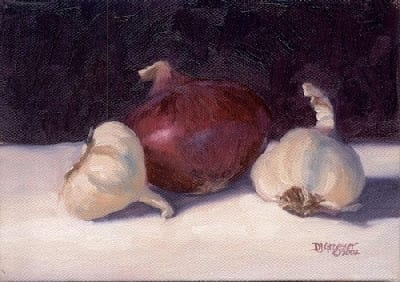"Red Onion with Garlic - 5""x 7"" - Oil"