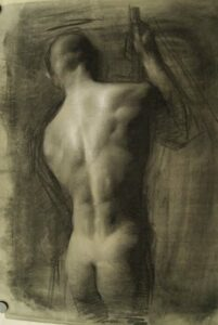 Juliette Aristides – Back - 29″x 20″ – Charcoal heightened with white