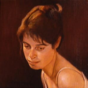 David Hardy – Portrait of Young Woman – 12″x 12″ – Oil