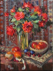 """Bright Red Apples"" by Joyce Pike OPAM 18""x24"""