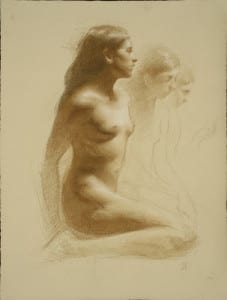 Juliette Aristides – Talia – 24″x 18″ – Charcoal and sepia on toned paper