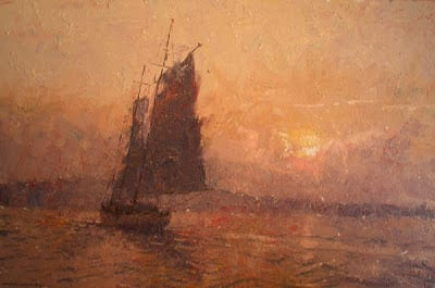 CW Mundy - Sailing Into Rockport At Sunset, oil on linen, 24x36 ©CWMundy Private Collection - Oil Painters Of America Blog