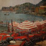 Red Striped Umbrellas, Santa Margherita Ligure