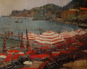 Red Striped Umbrellas, Santa Margherita Ligure