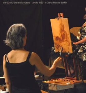 Sherrie painting a costumed figure