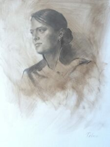 """""""Sarah"""" A portrait in charcoal by Bruce Petrie"""