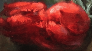 Detail on Cupids Arrow showing impasto and brushstrokes by Margret E Short