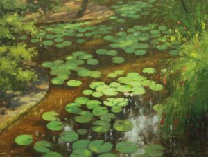 "Bill Farnsworth ""Lily pads"" Oil on Canvas 14 x 18"