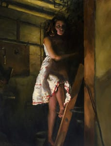 Girl in the shadows on a ladder