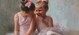 Two ballerina girls Telling secrets