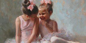 Two ballerina girls Telling secrets