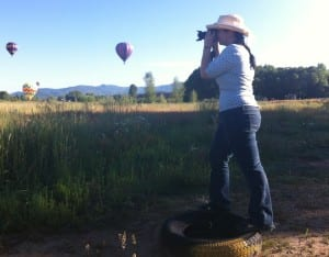 Taking pictures of hot air balloons