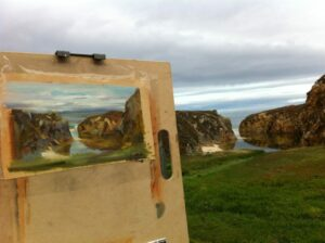 painting of cliffs and water