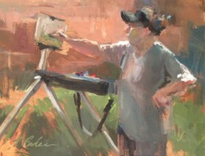 """Judy Confronts her Canvas"", Painting by Suzie Baker done during a plein air demonstration by Judy Carducci."