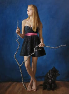 """""""Lily With Stick"""" 70x50 Oil"""