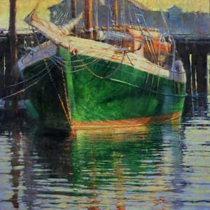 In A Beautiful Pea Green Boat by Elizabeth Pollie 24 x 24 Oil
