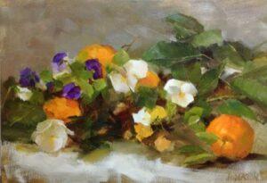 """""""Oranges & Pansies"""", Kathy Anderson, oil on panel, 10 x 14"""