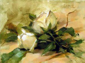 "my piece from class, ""Debbie's Garden"", oil, 6 x 8"
