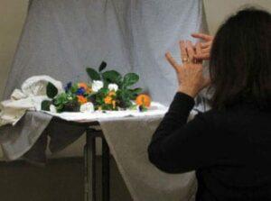 Kathy conceptualizing the design