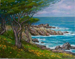 """Spring Along Scenic Drive, Carmel,CA."" by Alexander Dzigurski II OPA"